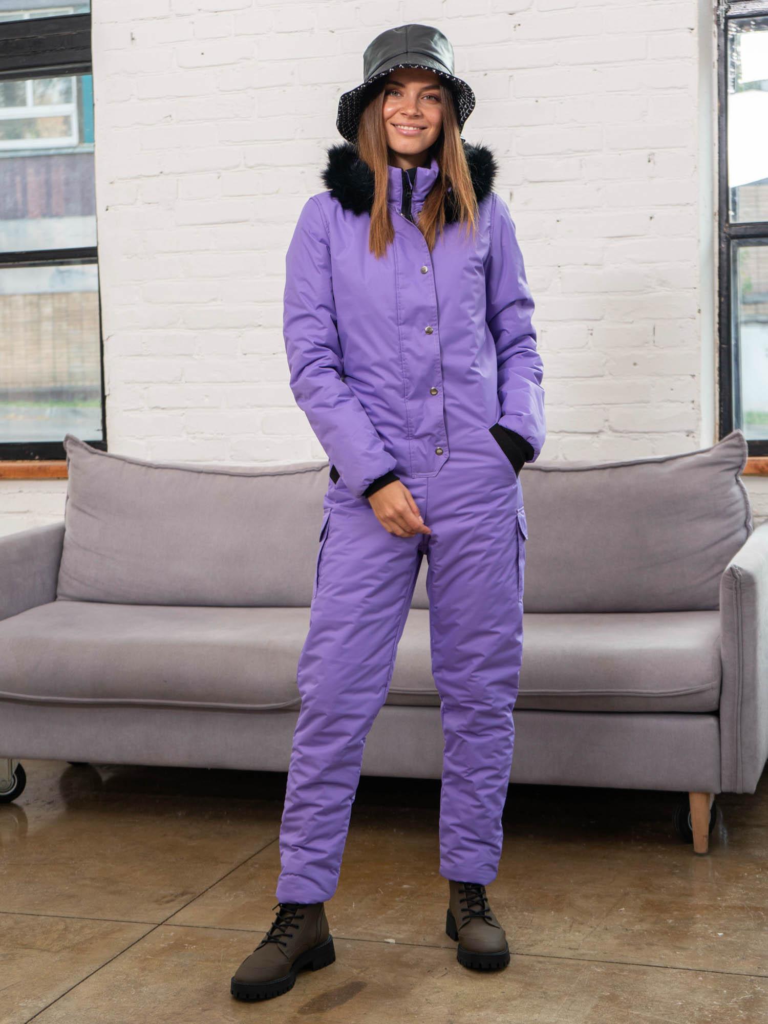 Женский зимний комбинезон, цвет светло-фиолетовый.